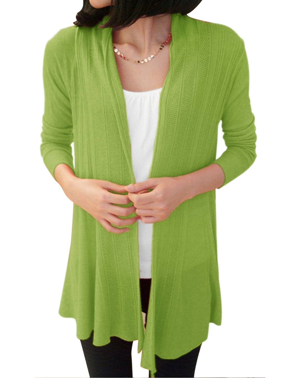 Women Leisure Style Open Front Long Cardigan Green XS