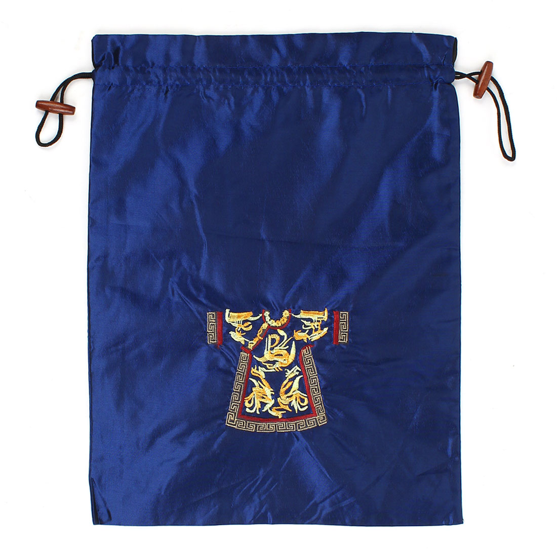Rectangle Shape Embroidery Cloth Pattern Drawstring Gift Pouch Bag Dark Blue