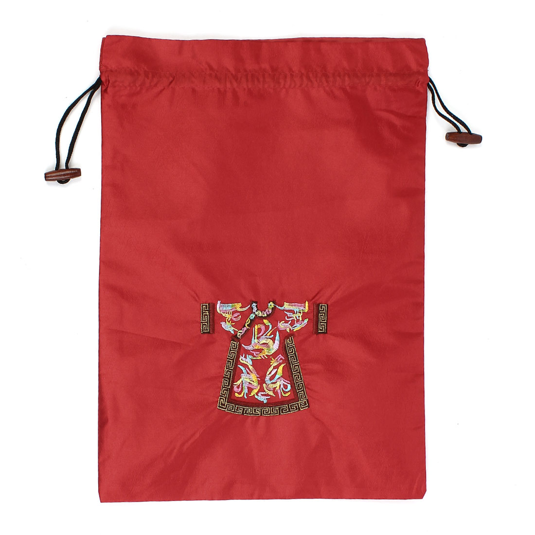 Rectangle Shape Embroidery Cloth Pattern Drawstring Gift Pouch Bag Red