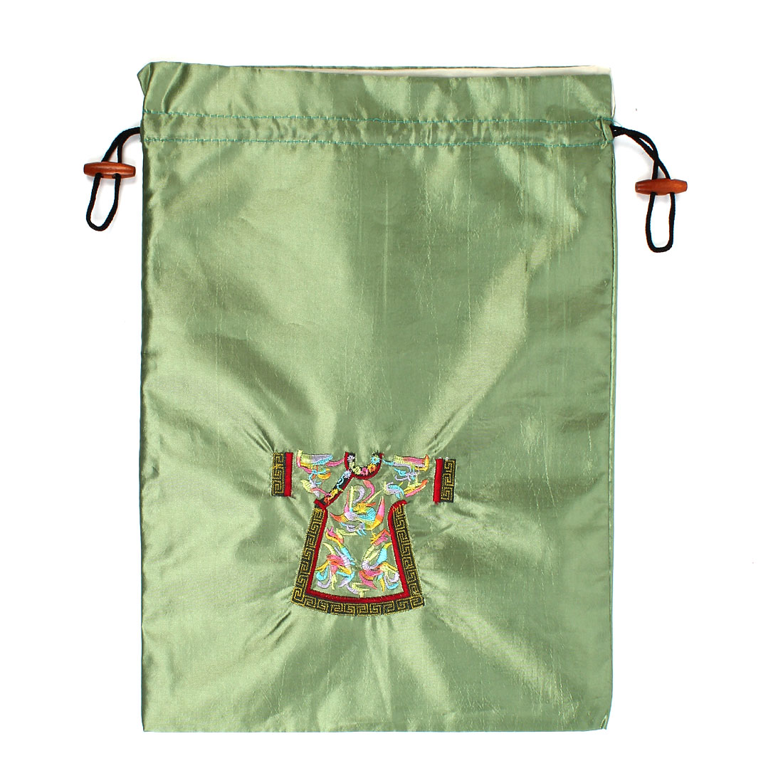Rectangle Shape Embroidery Cloth Pattern Drawstring Gift Pouch Bag Green