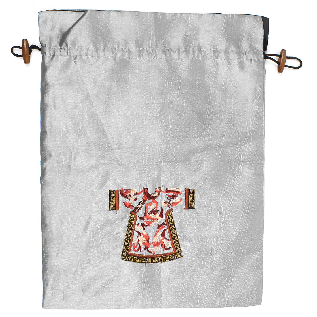 Rectangle Shape Embroidery Cloth Pattern Drawstring Gift Pouch Bag Gray