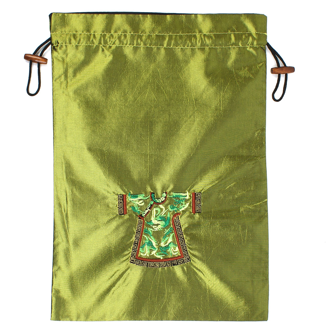 Rectangle Shape Embroidery Cloth Pattern Drawstring Gift Pouch Bag Army Green