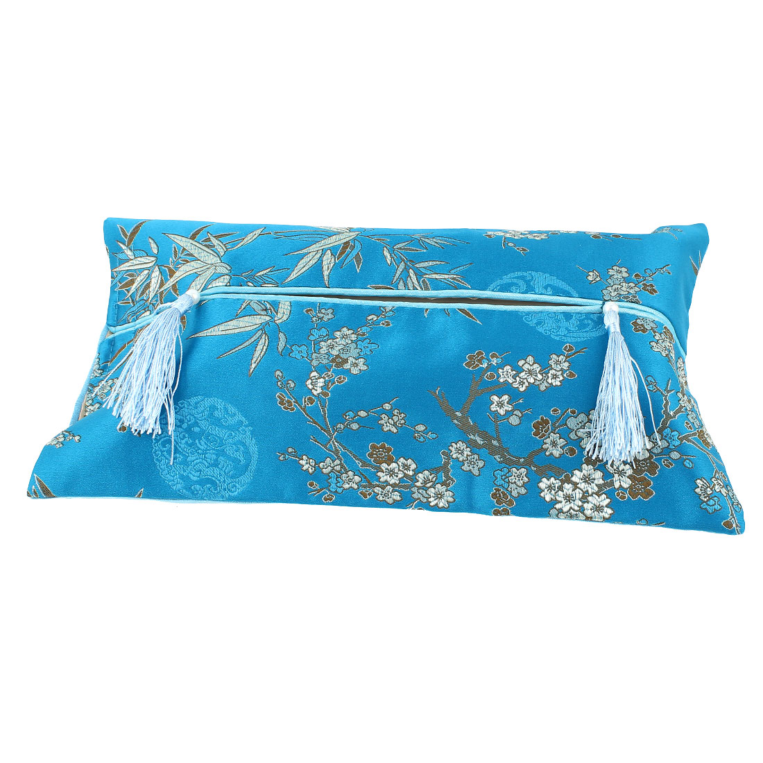 Rectangle Shape Embroidery Floral Pattern Tassel Decor Tissue Box Cover Blue