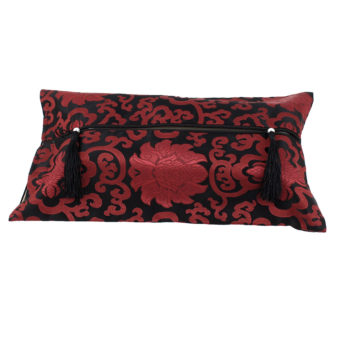 Rectangle Shape Embroidery Floral Pattern Tassel Decor Tissue Box Cover Red Black