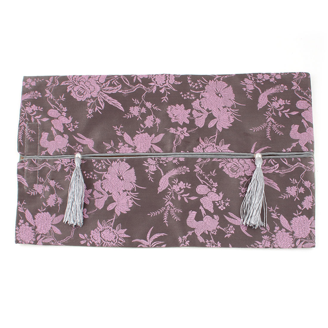 Rectangle Shape Embroidery Floral Pattern Tassel Decor Tissue Box Cover Pink