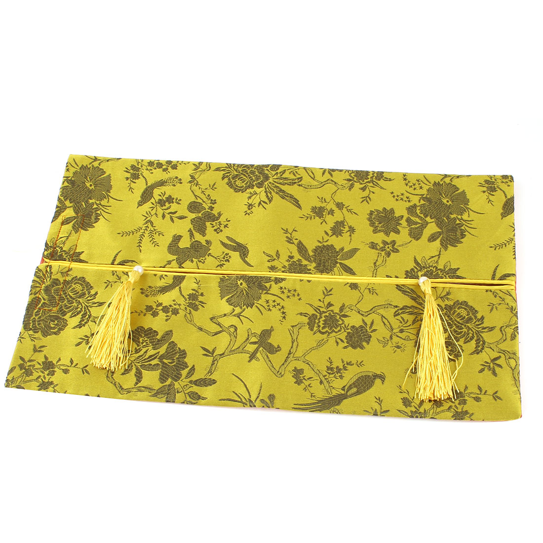 Rectangle Shape Embroidery Floral Pattern Tassel Decor Tissue Box Cover Gold Tone
