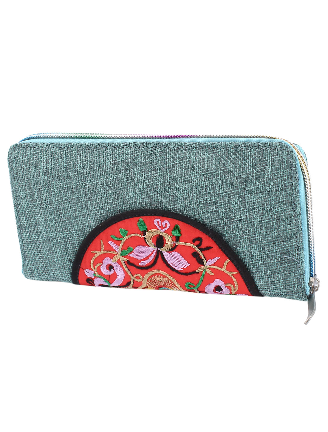 Cyan Gray Linen Rectangle Design Floral Pattern Zipper Closure Wallet Purse for Ladies