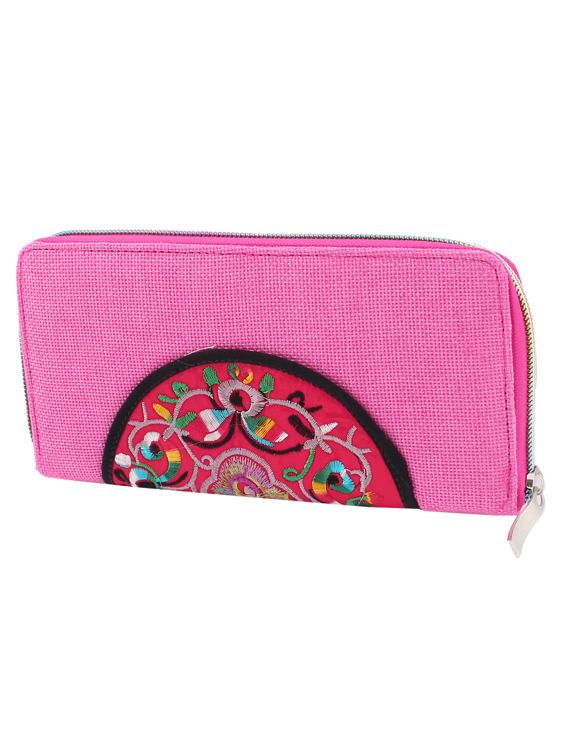 Pink Linen Rectangle Design Floral Pattern Zipper Closure Wallet Purse for Ladies
