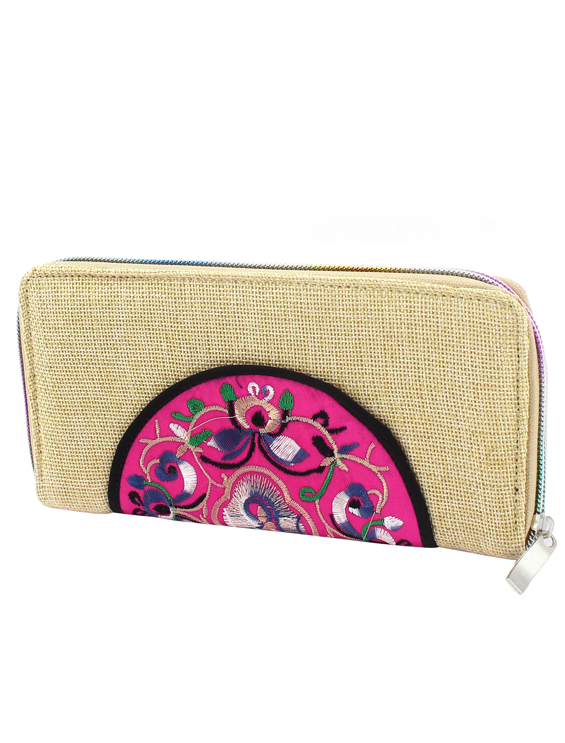 Beige Linen Rectangle Design Floral Pattern Zipper Closure Wallet Purse for Ladies