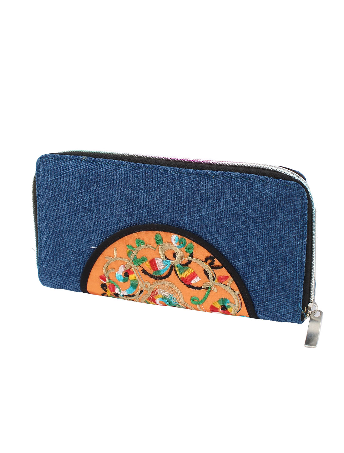 Dark Blue Linen Rectangle Design Floral Pattern Zipper Closure Wallet Purse for Ladies