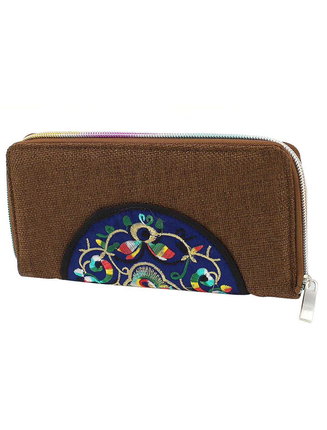 Coffee Color Linen Rectangle Design Floral Pattern Zipper Closure Wallet Purse for Ladies