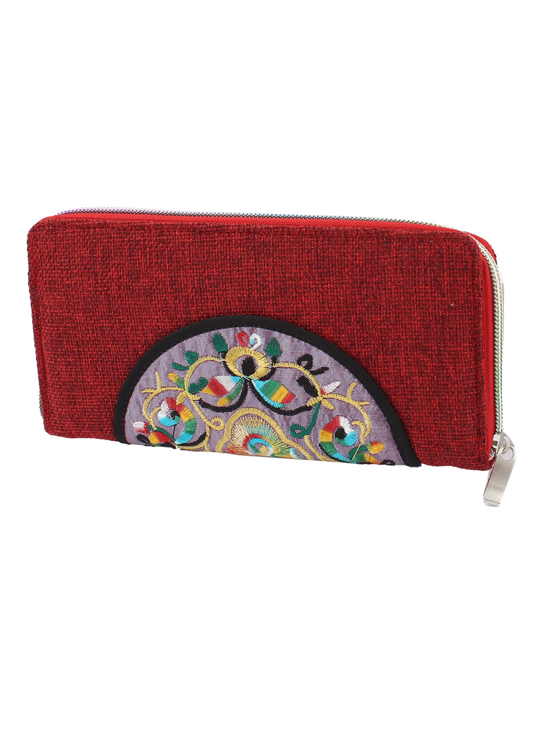 Dark Red Linen Rectangle Design Floral Pattern Zipper Closure Wallet Purse for Ladies