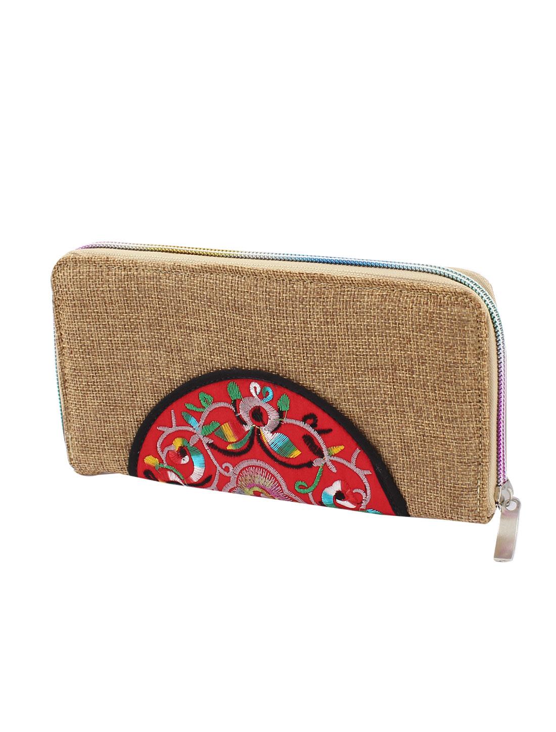 Light Coffee Color Linen Rectangle Design Floral Pattern Zipper Closure Wallet Purse for Ladies