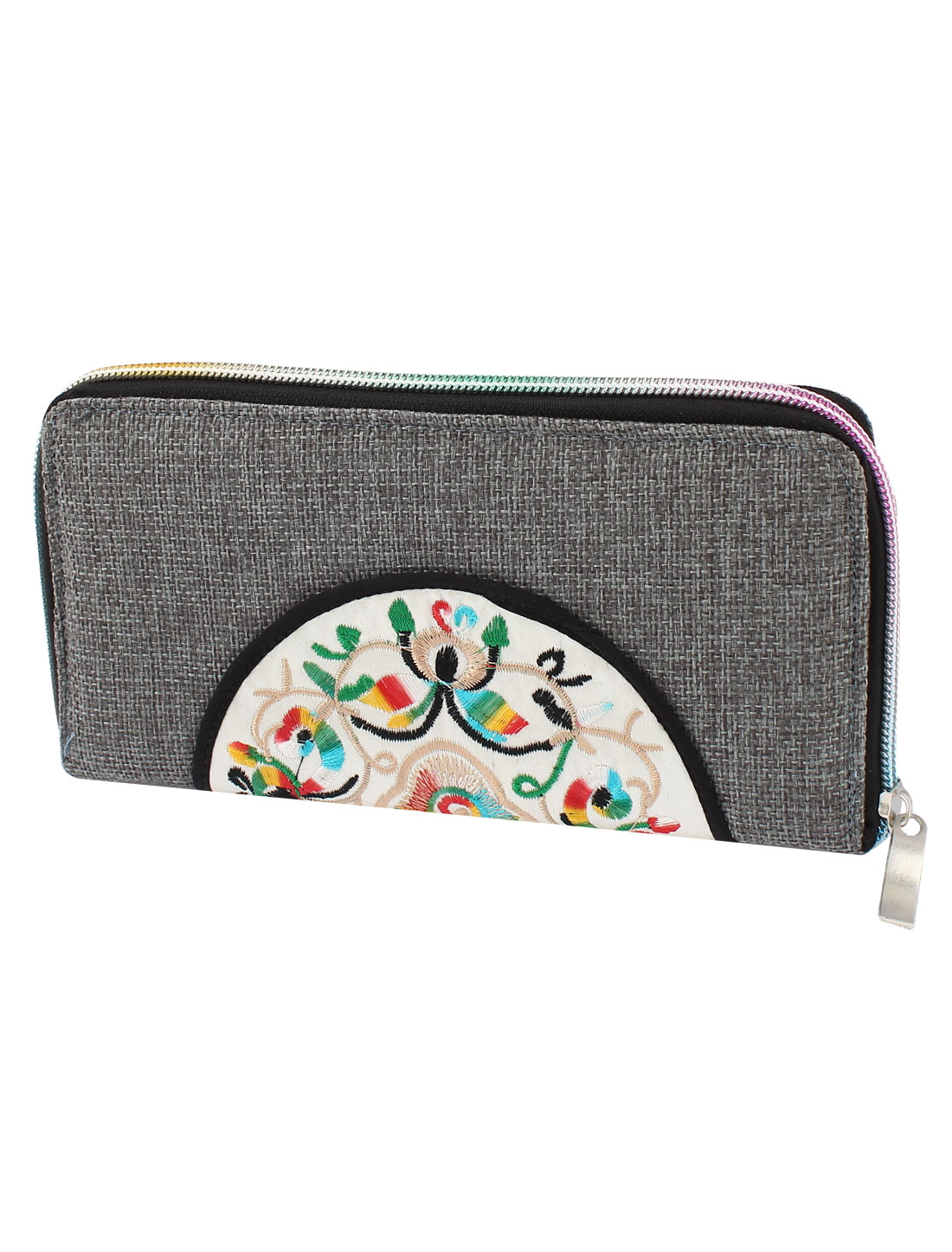 Gray Linen Rectangle Design Floral Pattern Zipper Closure Wallet Purse for Ladies