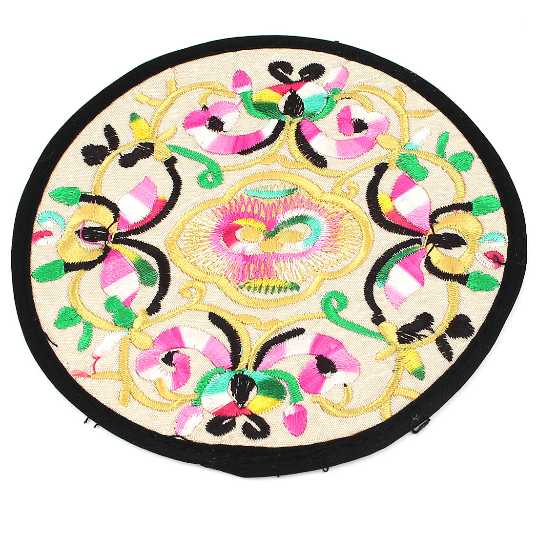 Round Shaped Embroidered Floral Pattern Heat Insulation Coaster Cup Mat Pad Off White