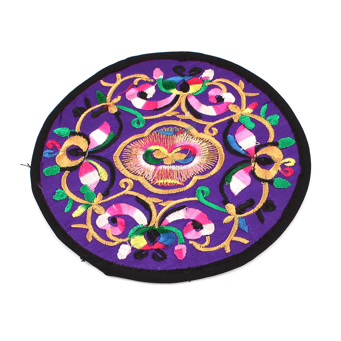 Round Shaped Embroidered Floral Pattern Heat Insulation Coaster Cup Mat Pad Purple