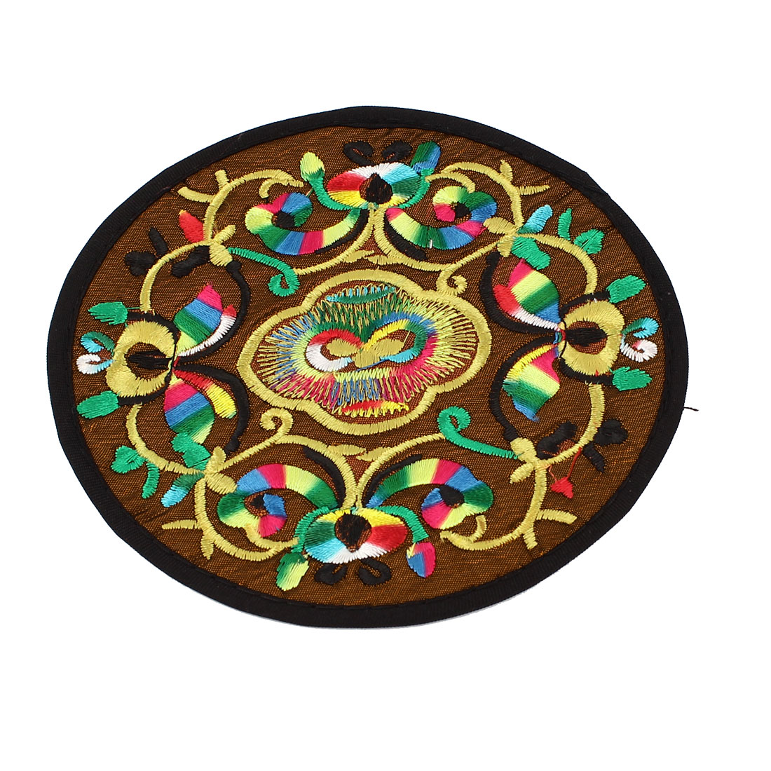 Round Shaped Embroidered Floral Pattern Heat Insulation Coaster Cup Mat Pad Coffee Color