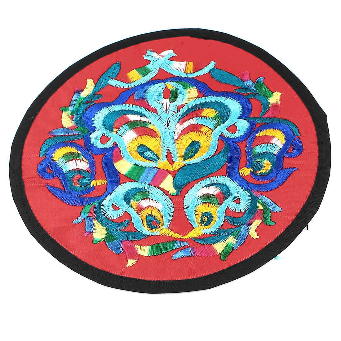 Round Shaped Embroidered Floral Pattern Heat Insulation Coaster Cup Mat Pad Red