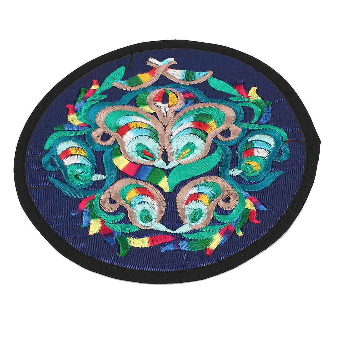 Round Shaped Embroidered Floral Pattern Heat Insulation Coaster Cup Mat Pad Dark Blue