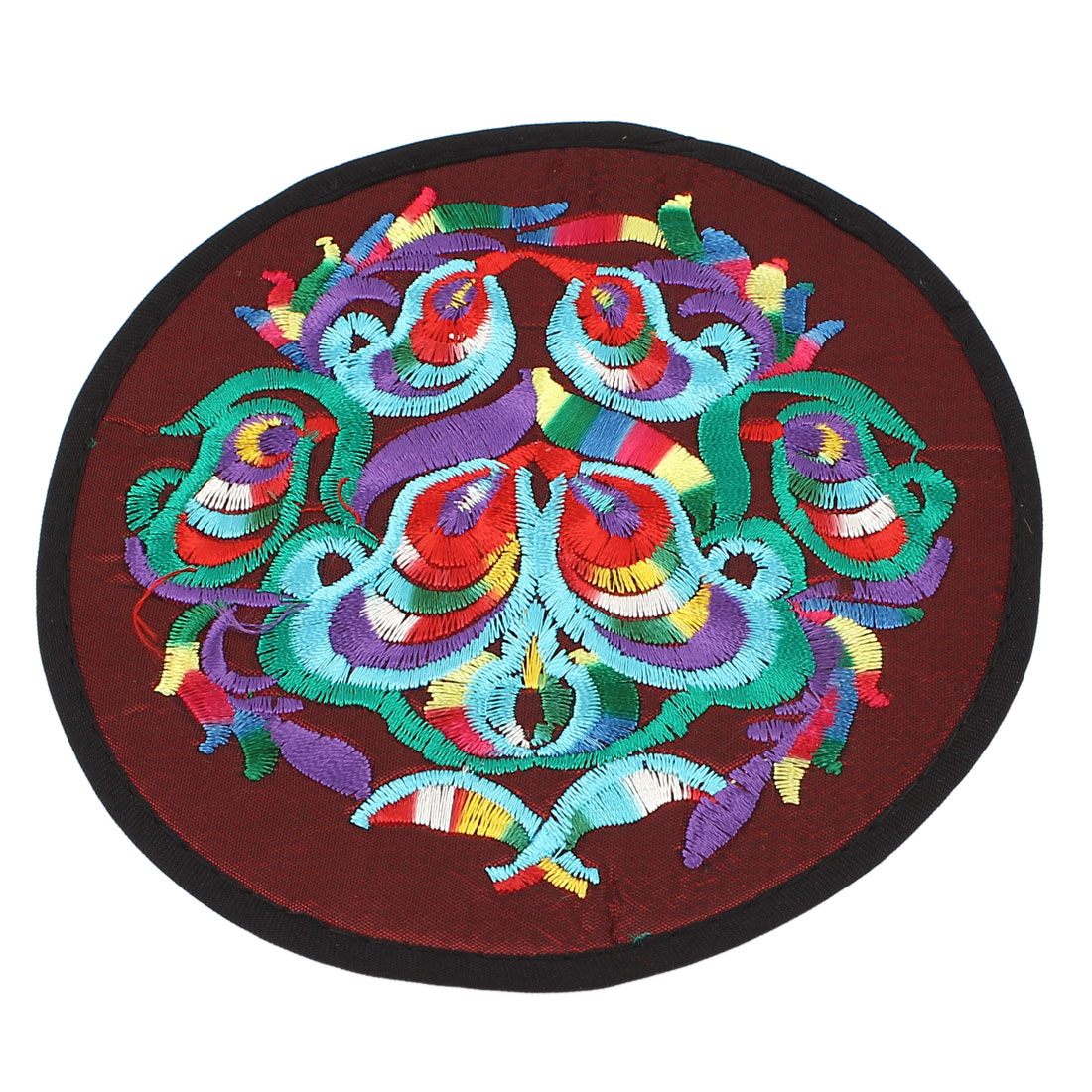 Round Shaped Embroidered Floral Pattern Heat Insulation Coaster Cup Mat Pad Burgundy
