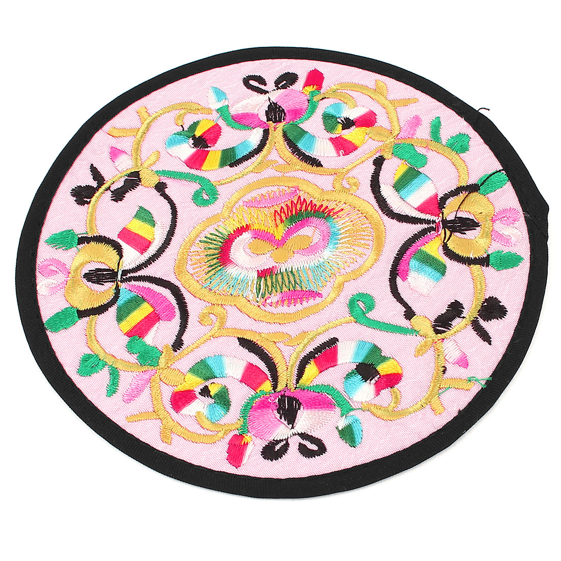 Round Shaped Embroidered Floral Pattern Heat Insulation Coaster Cup Mat Pad Pink