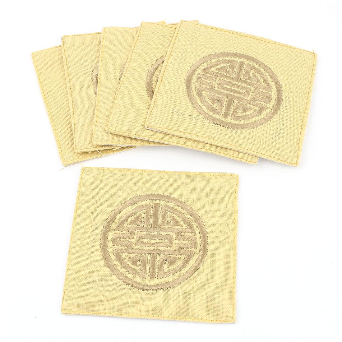 6Pcs Linen Square Shaped Longevity Pattern Coaster Cup Mat Pads Beige