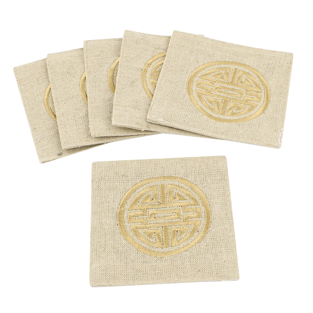 6Pcs Linen Square Shaped Longevity Pattern Coaster Cup Mat Pads Off White