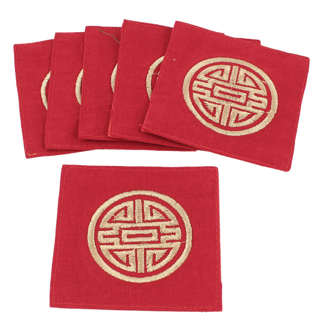 6Pcs Linen Square Shaped Longevity Pattern Coaster Cup Mat Pads Red