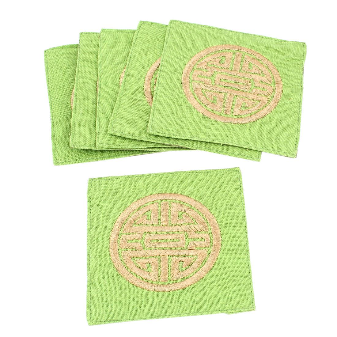 6Pcs Linen Square Shaped Longevity Pattern Coaster Cup Mat Pads Light Green