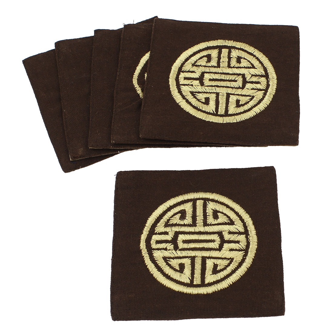 6Pcs Linen Square Shaped Longevity Pattern Coaster Cup Mat Pads Dark Coffee Color