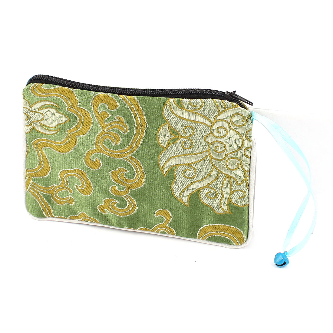 Women Brocade Rectangular Shaped Flower Pattern Zipper Closure Cash Coin Purse Bag Green