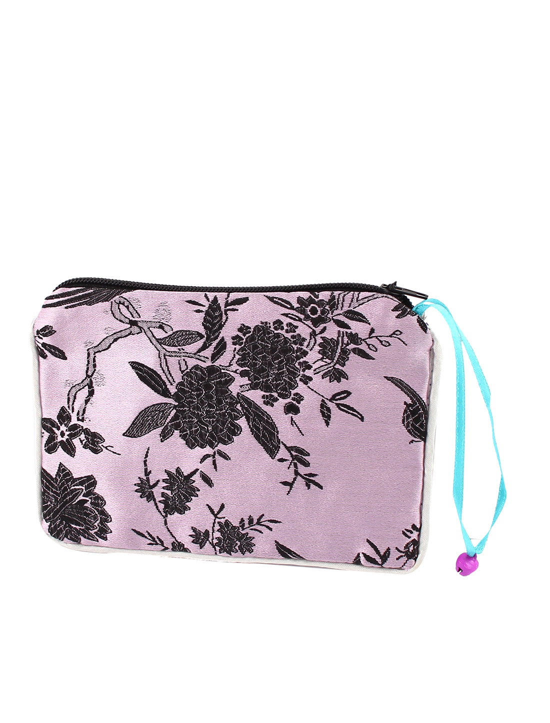 Women Brocade Rectangular Shaped Flower Pattern Zipper Closure Cash Coin Purse Bag Light Pink