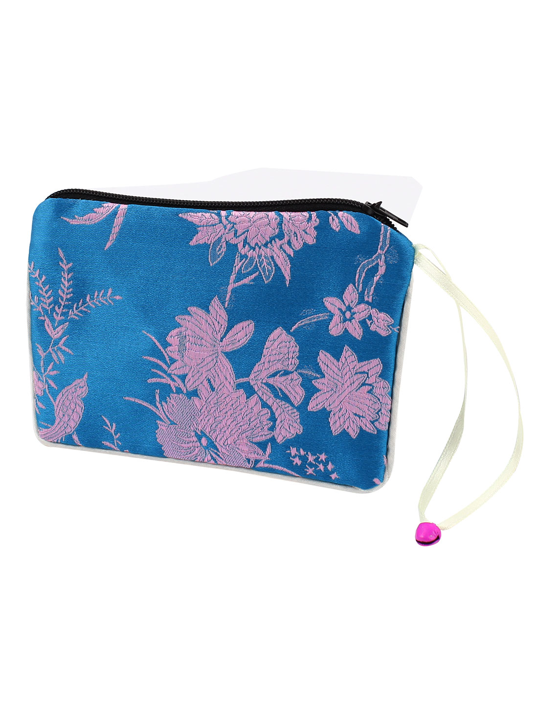 Women Brocade Rectangular Flower Pattern Zipper Closure Cash Coin Purse Bag Sky Blue