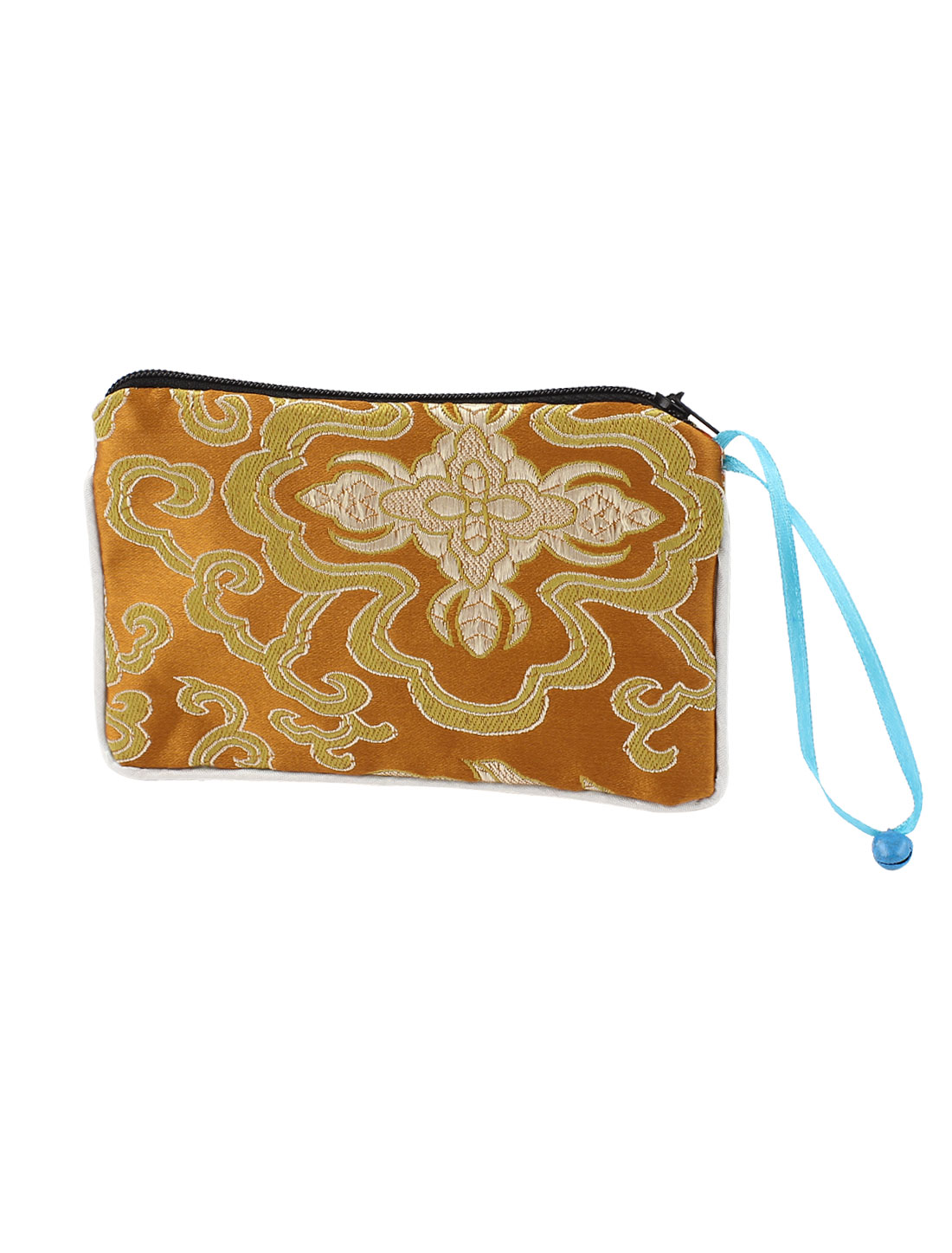 Women Brocade Rectangular Shaped Flower Pattern Zipper Closure Cash Coin Purse Bag Orange