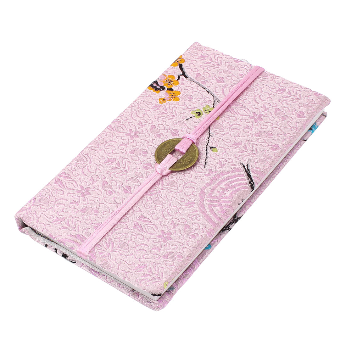 Embroidery Plum Blossom Pattern Nylon Coated Copper Coin String Decor Memo Book Notepad Pink