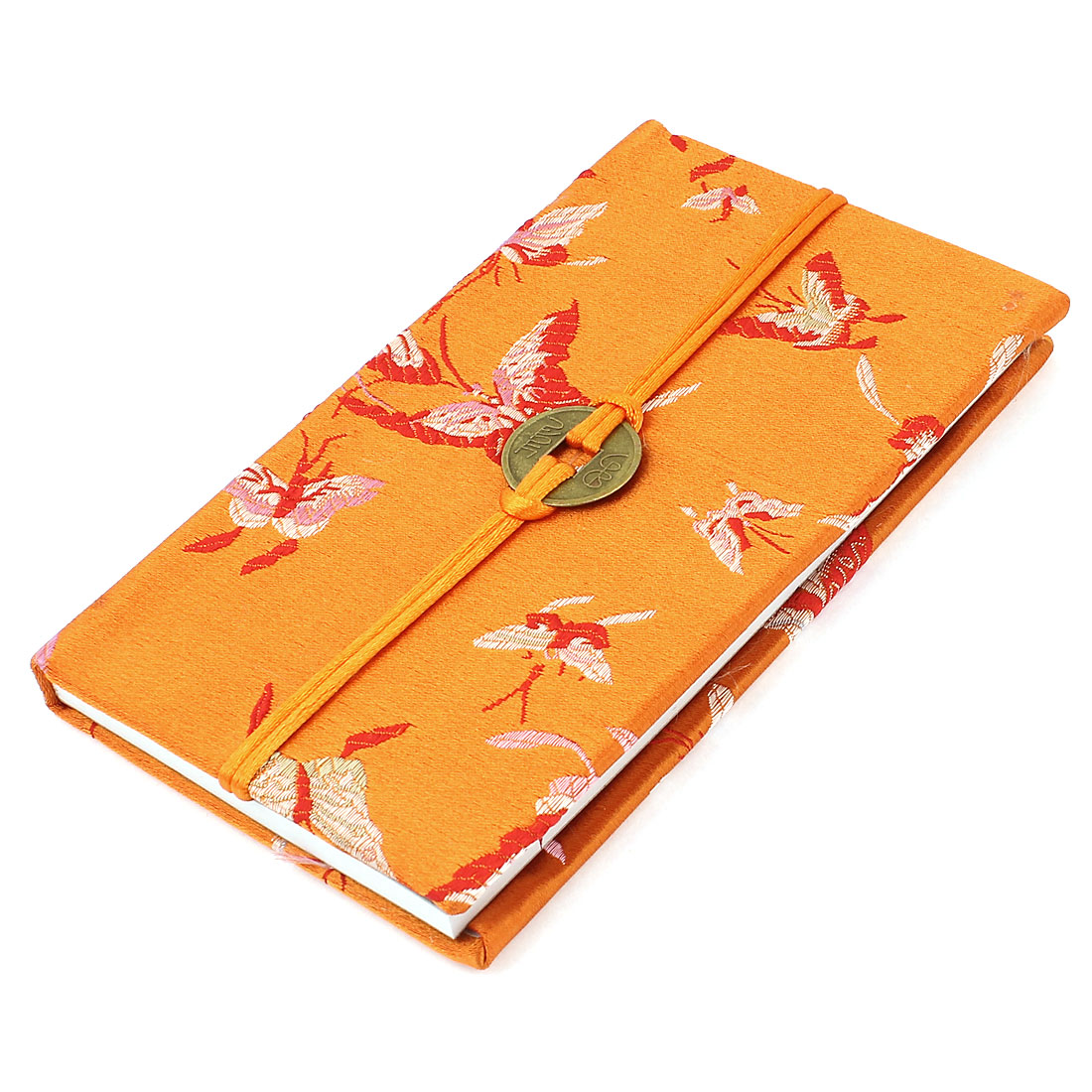 Embroidery Butterfly Pattern Nylon Coated Copper Coin String Decor Memo Book Notepad Orange