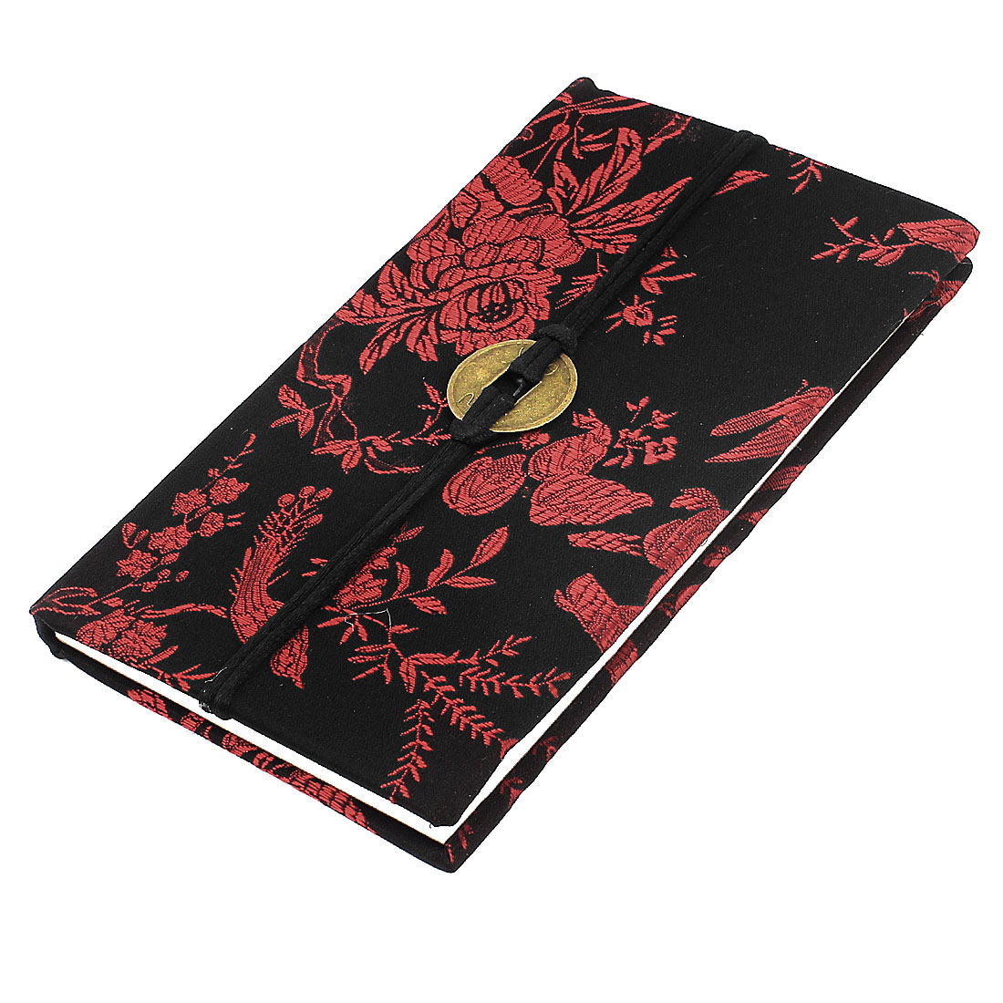 Embroidery Floral Pattern Nylon Coated Copper Coin String Decor Memo Book Notepad Black Red