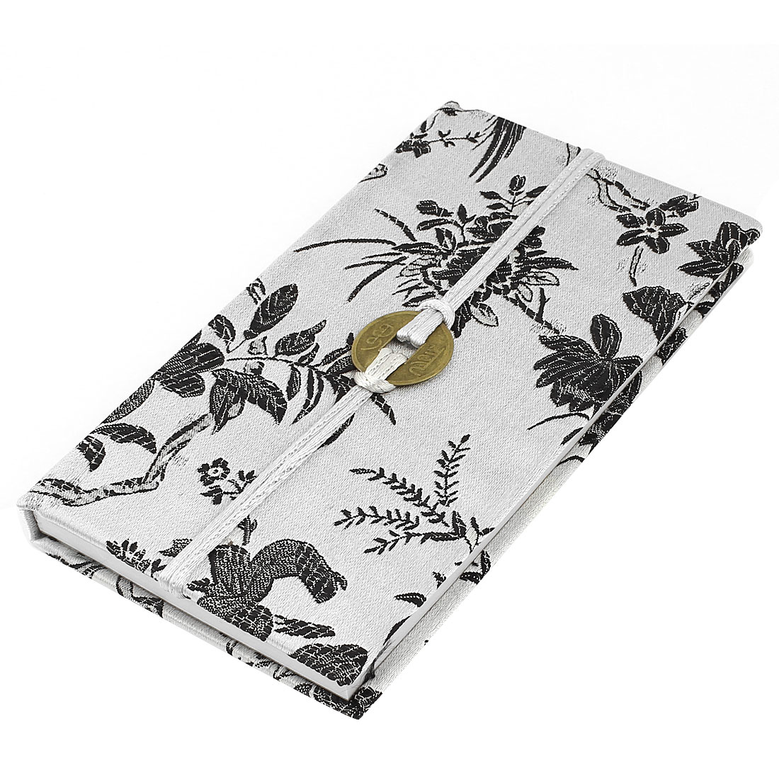 Embroidery Floral Pattern Nylon Coated Copper Coin String Decor Memo Book Notepad Silver Gray