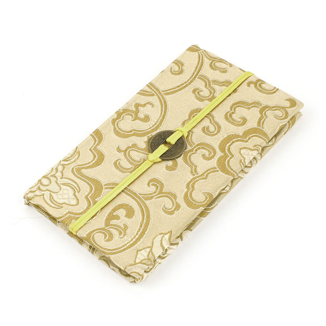 Embroidery Floral Pattern Nylon Coated Copper Coin String Decor Memo Book Notepad Champagne Color