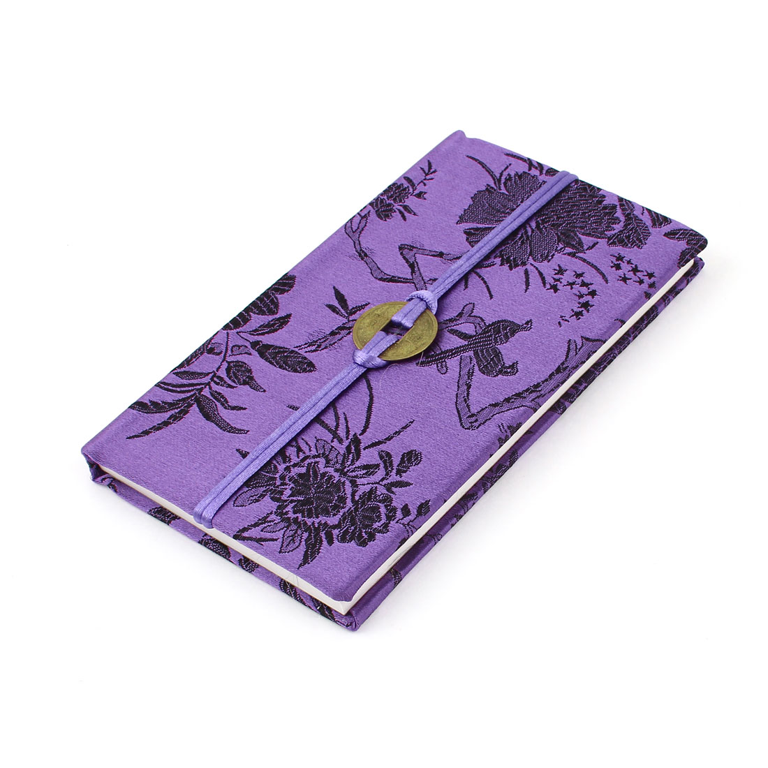 Embroidery Floral Pattern Nylon Coated Copper Coin String Decor Memo Book Notepad Purple