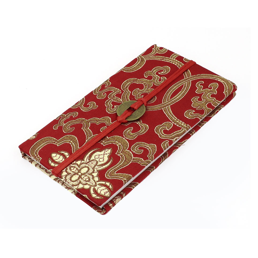 Embroidery Floral Pattern Nylon Coated Copper Coin String Decor Memo Book Notepad Red Gold Tone