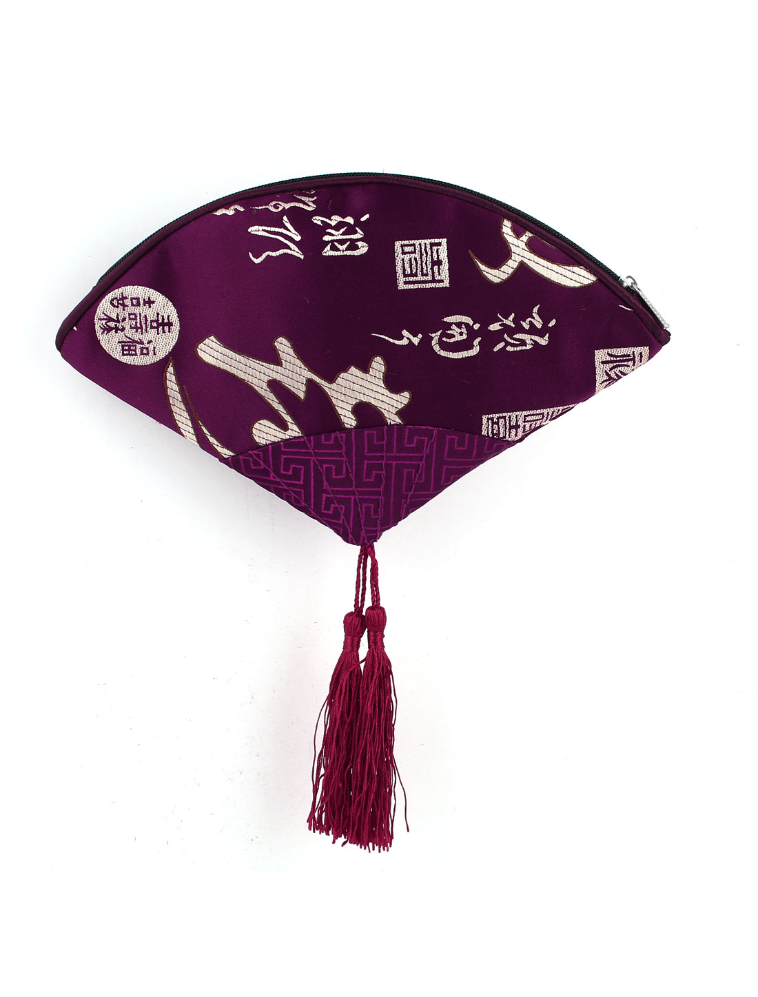 Women Fan Shaped Embroidery Chinese Words Pattern Tassels Decor Zip up Cash Coin Key Purse Dark Purple