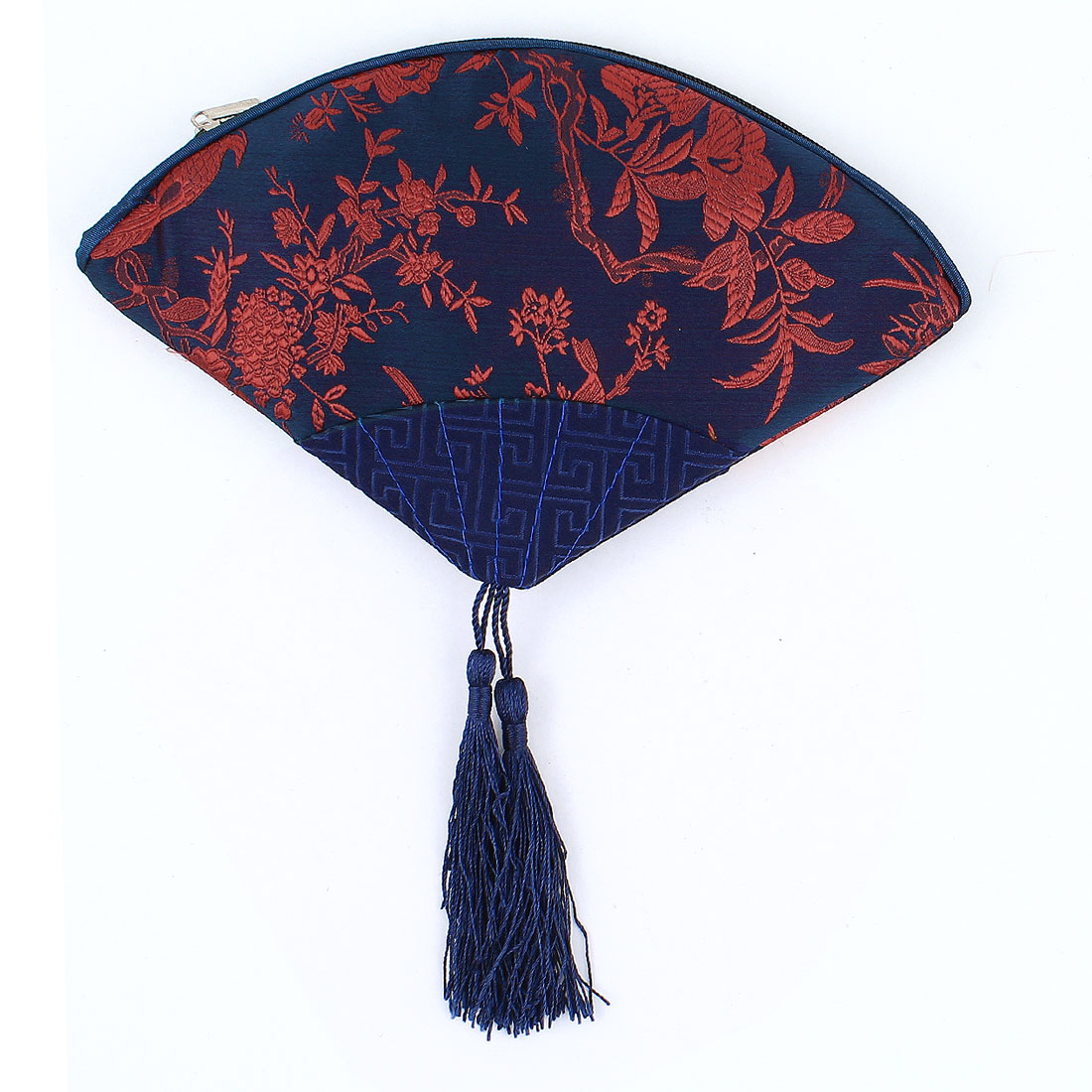 Women Fan Shaped Embroidery Floral Pattern Tassels Decor Zip up Cash Coin Key Purse Red Dark Blue