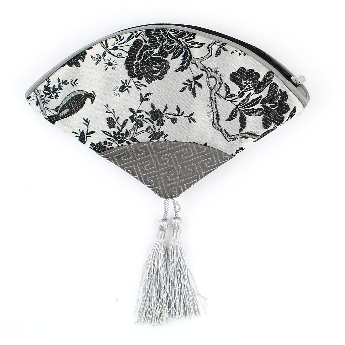 Women Fan Shaped Embroidery Floral Pattern Tassels Decor Zip up Cash Coin Key Purse Silver Gray