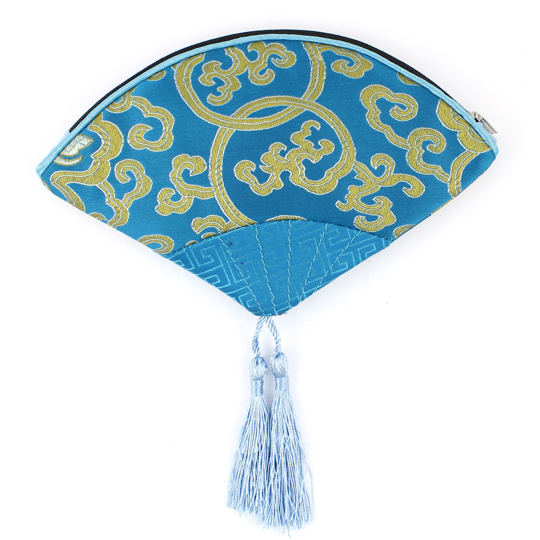 Women Fan Shaped Embroidery Floral Pattern Tassels Decor Zipper Closure Cash Coin Key Purse Blue