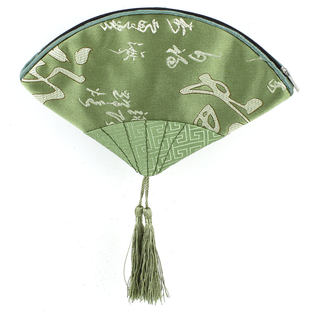 Women Fan Shaped Embroidery Chinese Words Pattern Tassels Decor Zip up Cash Coin Purse Green