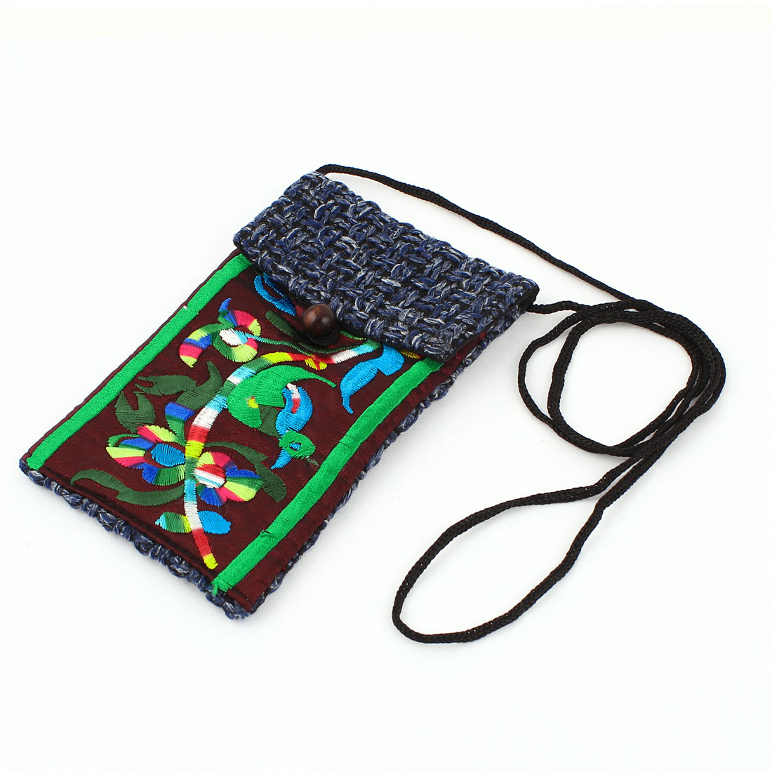 Steel Blue Burgundy Embroidery Floral Pattern Hand Strap Knitting Smartphone Pouch Bag