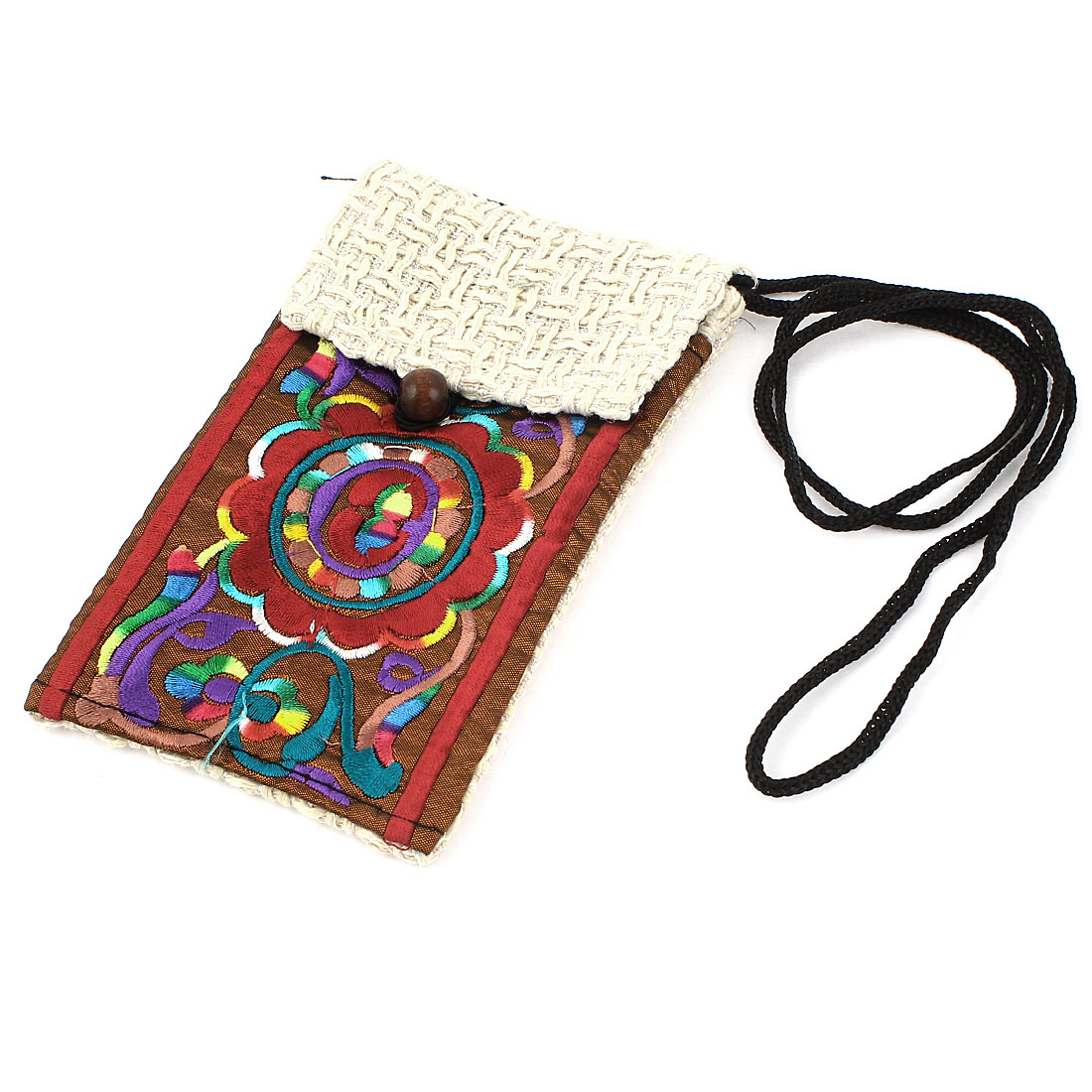 White Coffee Color Embroidery Floral Pattern Hand Strap Knitting Smartphone Pouch Bag