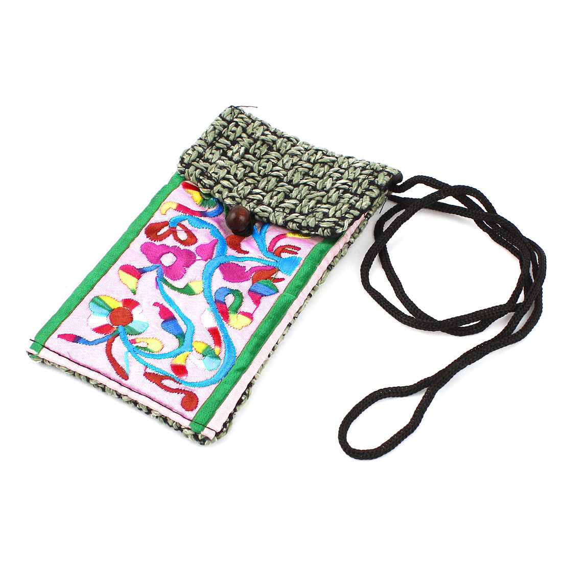 Light Green Pink Embroidery Floral Pattern Hand Strap Knitting Smartphone Pouch Bag