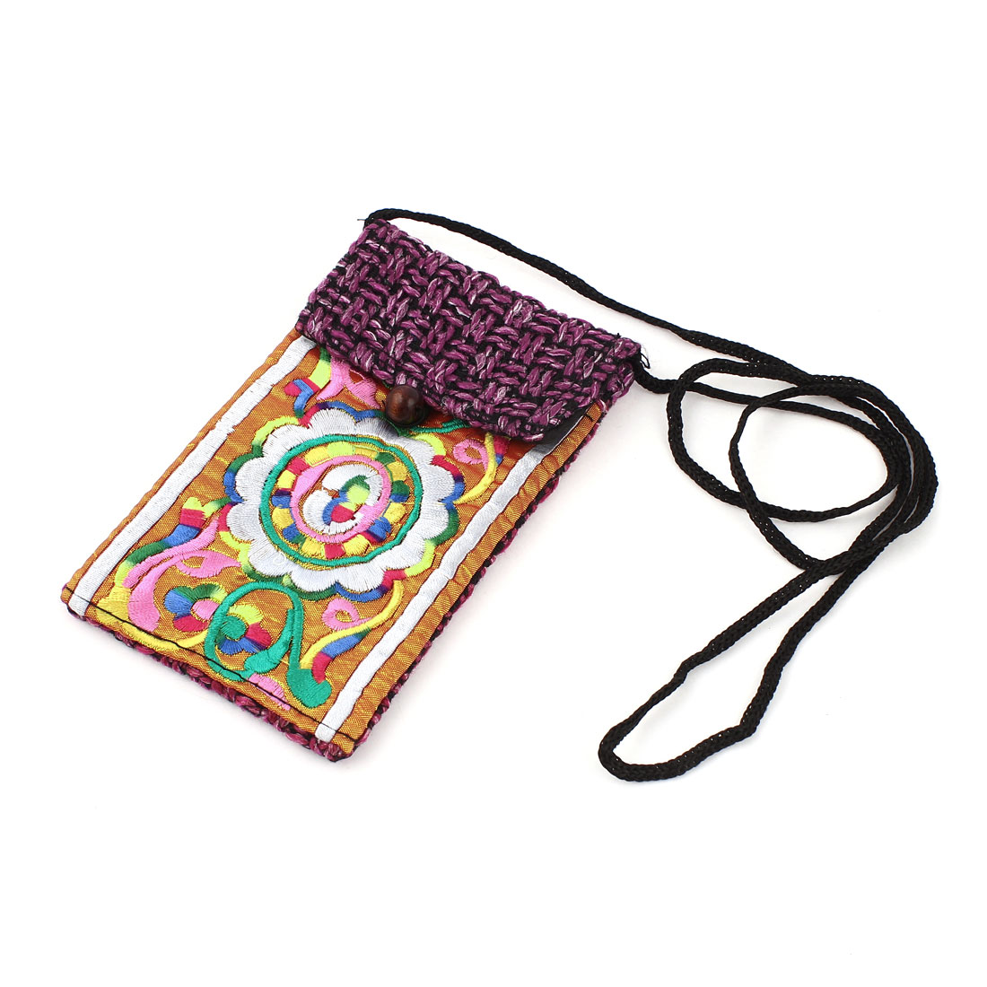 Amaranth Orange Embroidery Floral Pattern Hand Strap Knitting Smartphone Pouch Bag